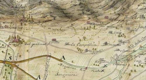 Mapa de la Huerta de Murcia, año 1721 (fragmento). Archivo de Simancas.